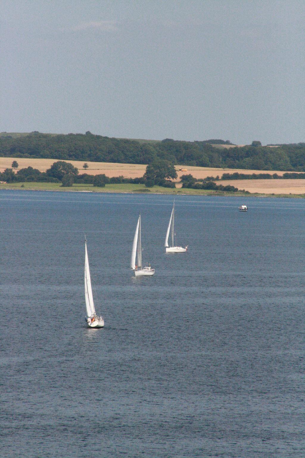 Drei Segelboote auf dem Wasser bei Langballig. Im Hintergrund Land