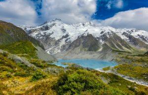 Ein See, umgeben von Bergen als Motiv für die Outdoor-Fotografie