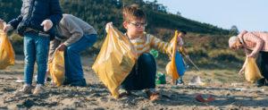 Eine Gruppe Freiwilliger sammelt den Müll am Strand.